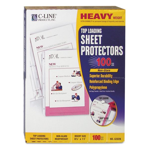 C-Line Heavyweight Polypropylene Sheet Protector, Letter, Heavyweight, Non-Glare, Clear, 100/BX