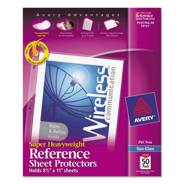 Avery Super Top Loading Non-Glare Heavy Weight Reference Sheet Protectors