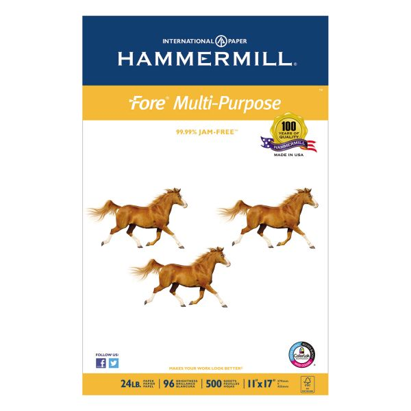 "Hammermill Fore MP White 11"" x 17"" Copy Paper"