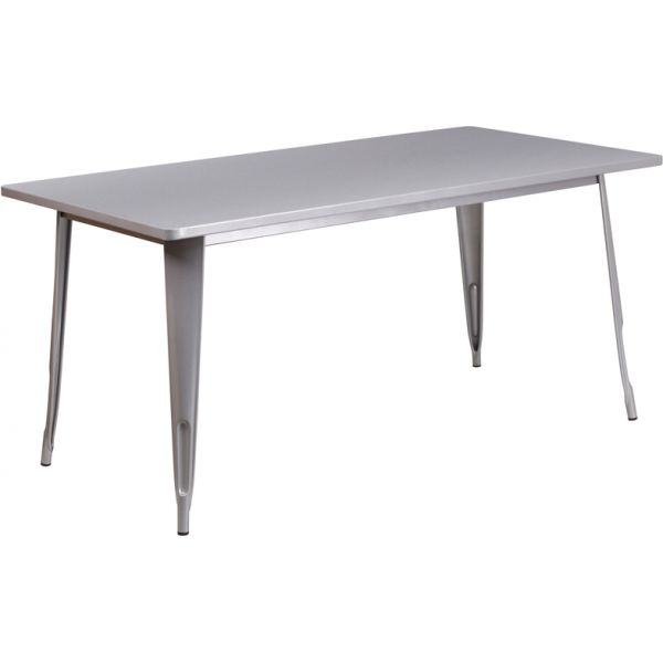 Flash Furniture 31.5'' x 63'' Rectangular Silver Metal Indoor-Outdoor Table