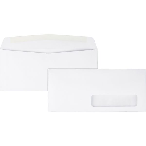 Quality Park Window Envelope, #10, 4 1/8 x 9 1/2, White, 500/Box