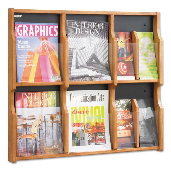 Safco Expose Adj Magazine/Pamphlet Six Pocket Display, 29-3/4w x 26-1/4h, Medium Oak