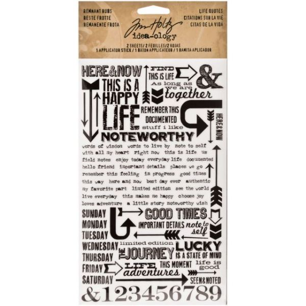"Idea-Ology Remnant Rubs Rub-Ons 4.75""X7.75"" Sheets 2/Pkg"