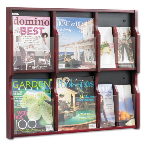 Safco Expose Adj Magazine/Pamphlet Six Pocket Display, 29-3/4w x 26-1/4h, Mahogany