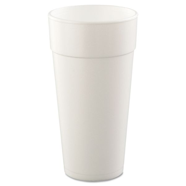 Dart Drink Foam Cups, Hot/Cold, 24oz, White, 25/Bag, 20 Bags/Carton
