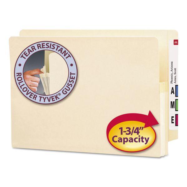 """Smead 1 3/4"""" Exp End Tab File Pocket, Straight Tab, Legal, Manila, 25/Bx"""
