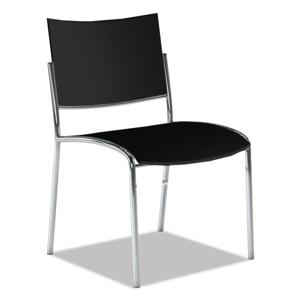 Mayline Escalate Stacking Chair, Plastic Back/Seat, Black, 4 Chairs/Carton