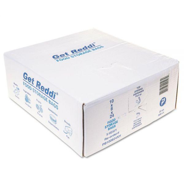 Inteplast Group Get Reddi Food & Poly Bag, 10 x 24, 22-Quart, 1.20 Mil, Clear, 500/Carton