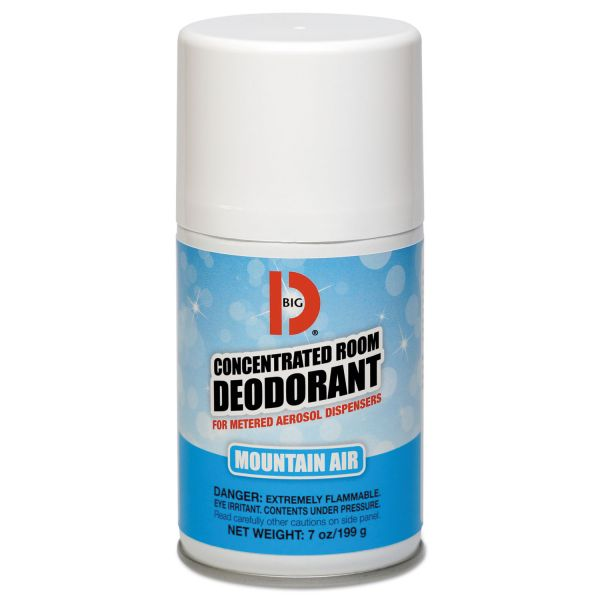 Big D Industries Metered Concentrated Room Deodorant, Mountain Air Scent, 7 oz Aerosol