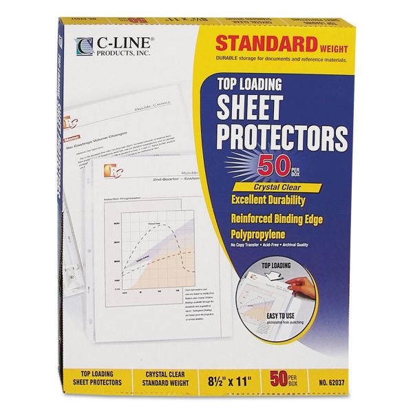 C-Line Top Loading Polypropylene Sheet Protector, Letter, Standard Weight, Clear, 50/Box