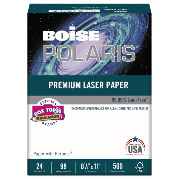 Boise POLARIS Premium Laser Paper, 98 Bright, 24lb, 8 1/2 x 11, White. 500 Sheets