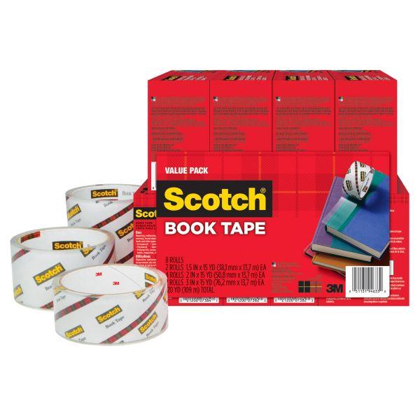 """Scotch Book Repair Tape Multi-Pack, 1 1/2"""" x 15yds, 3"""" Core, Clear, 8/Pack"""
