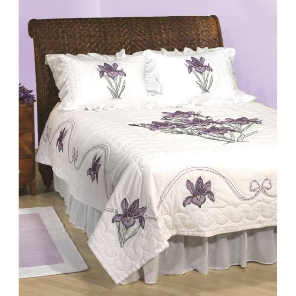 Stamped White Quilt Top