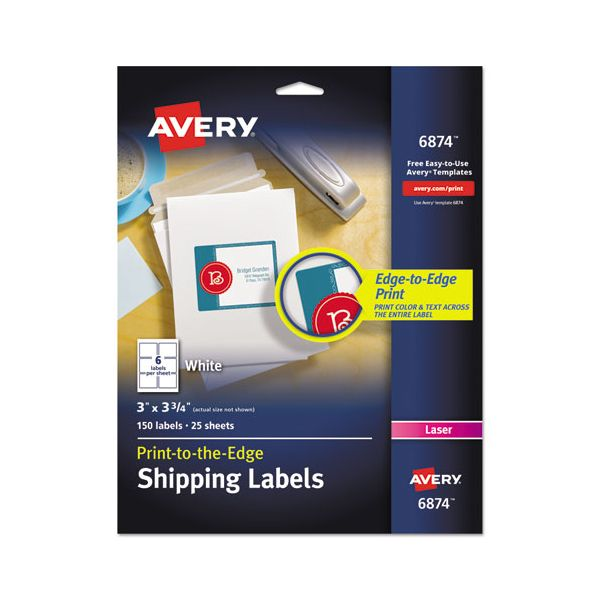 Avery Vibrant Color-Printing Shipping Labels, 3 x 3 3/4, White, 150/Pack