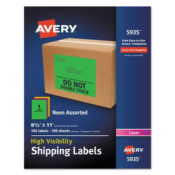 Avery 5935 Neon Shipping Labels