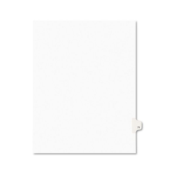 Avery-Style Legal Exhibit Side Tab Divider, Title: 71, Letter, White, 25/Pack
