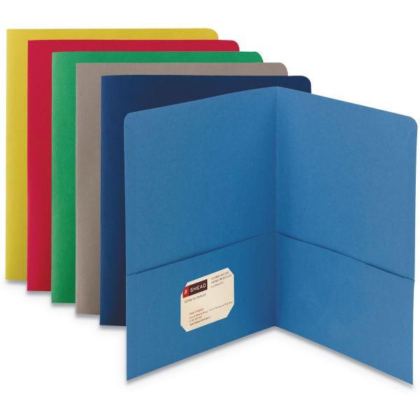 Smead Two-Pocket Folder, 50-Sheet Capacity, Assorted Colors, 25/Box