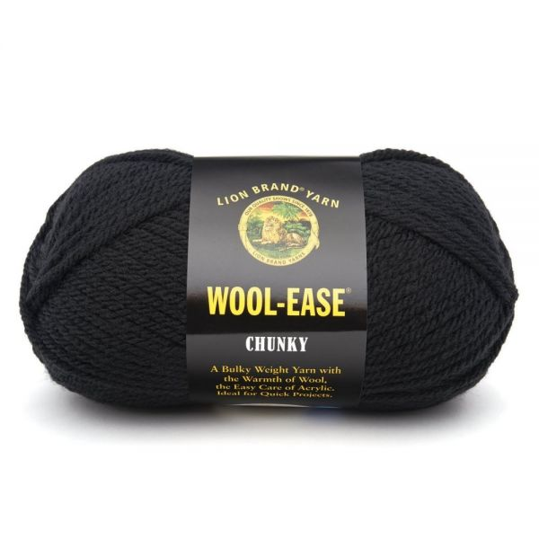 Lion Brand Wool-Ease Chunky Yarn - Black