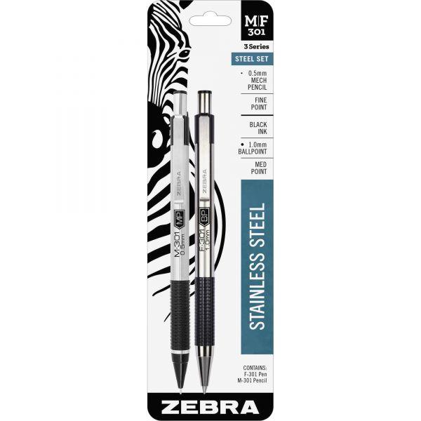 Zebra Pen M/F-301 Nonslip Grip Pen and Pencil Sets