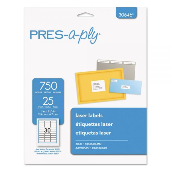 PRES-a-ply Laser Address Labels, 1 x 2 5/8, Clear, 750/Pack