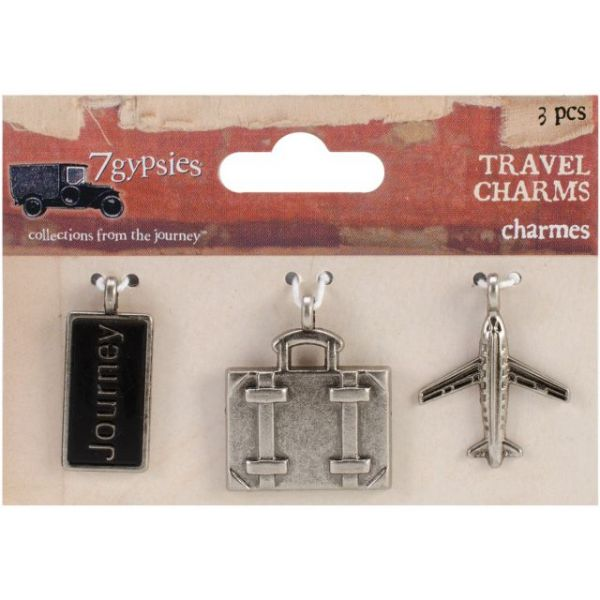 "Travel Metal Charms 1""X.5"" To 1""X1.25"" 3/Pkg"