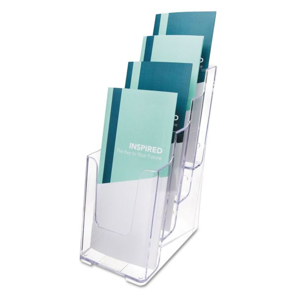 deflecto 4-Compartment DocuHolder, Leaflet Size, 4 7/8 x 6 1/8 x 10, Clear