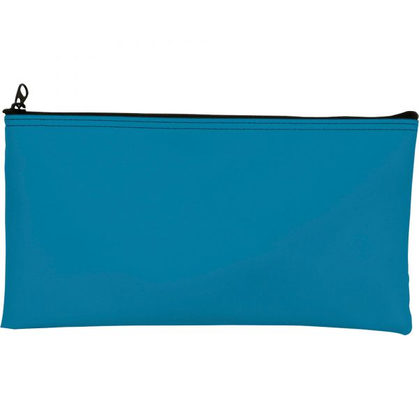 MMF Industries Leatherette Zippered Wallet, Leather-Like Vinyl, 11w x 6h, Marine Blue