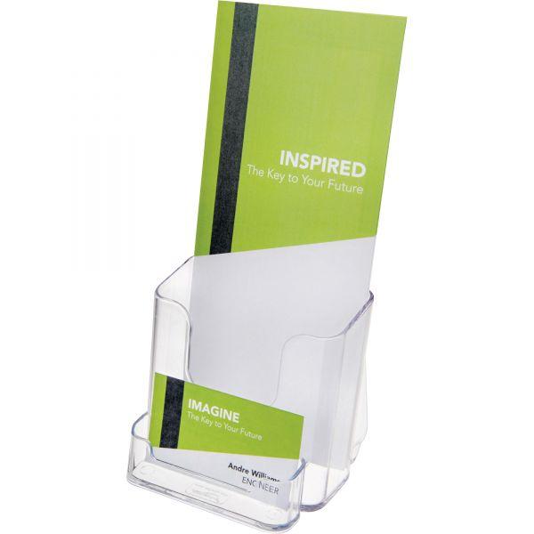 Deflecto Two-Pocket Rigid Plastic Leaflet Display Rack, Clear