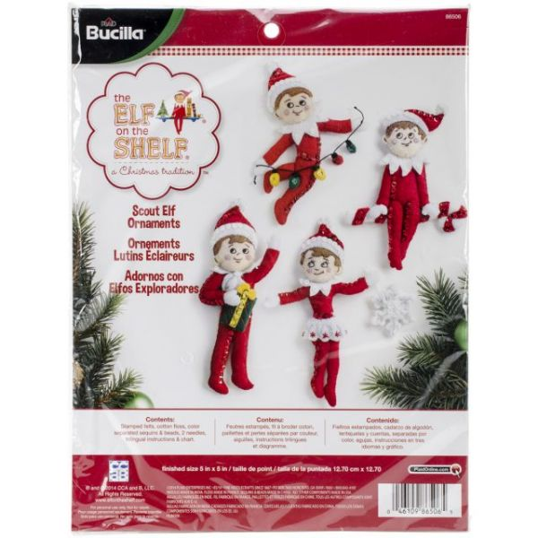 Elf On The Shelf Scout Elf Ornaments Felt Applique Kit