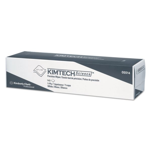 "Kimtech* Precision Wiper, POP-UP Box, 1-Ply, 14 7/10"" x 16 3/5"" White, 140/Box"