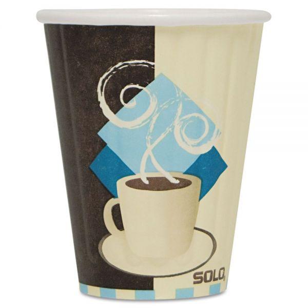 Dart Duo Shield Insulated Paper Hot Cups, 8oz, Tuscan, Chocolate/Blue/Beige, 50/Pk