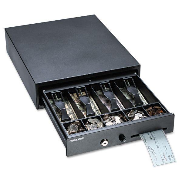 "Compact Locking Steel Cash Drawer 13""W  x 16""L x 4""H Black"