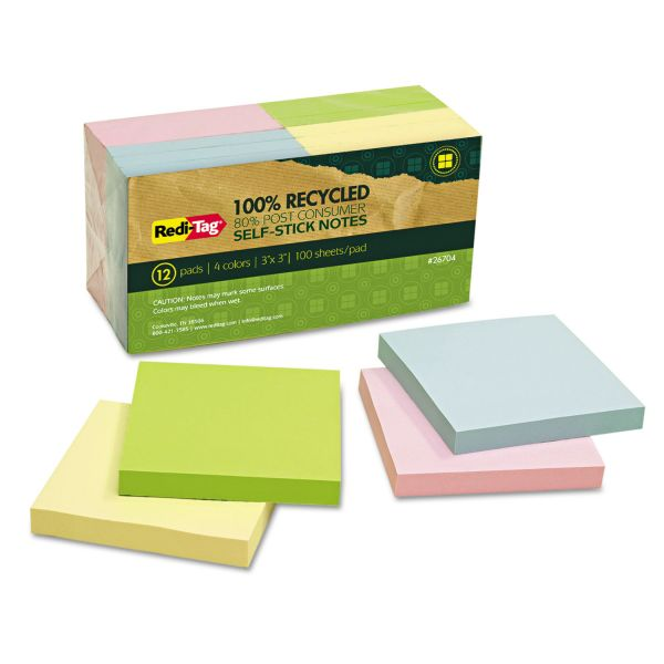 "Redi-Tag 100% Recycled 3"" x 3"" Adhesive Note Pads"