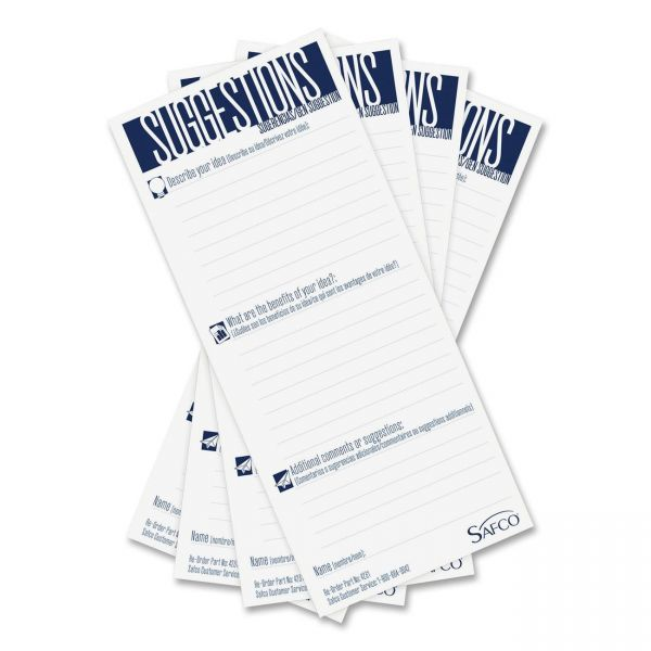 Safco Suggestion Box Cards, 3-1/2 x 8, White, 25 Cards per Pack