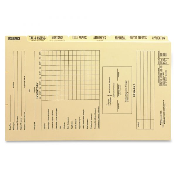 Smead Mortgage Folder Printed Replacement Divider Sets, Legal, 8/Set