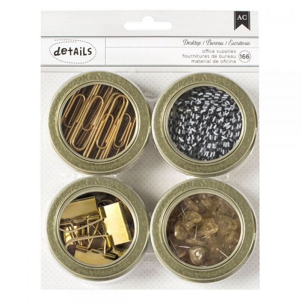 "American Crafts Value Pack Magnetic Office Tins 2.5"" 4/Pkg"
