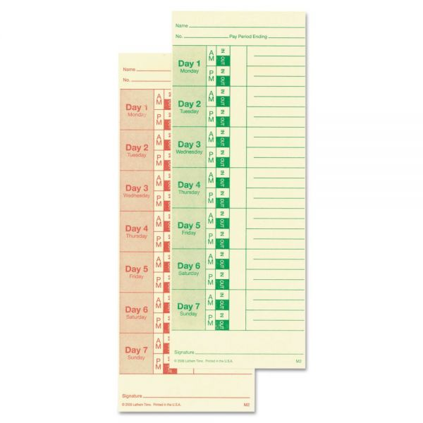 Lathem Time Universal Double-Sided Weekly/Bi-Weekly Time Cards