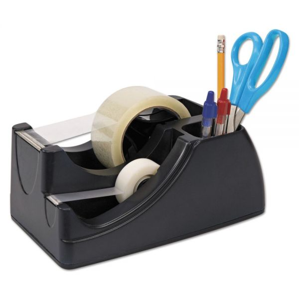 "Officemate Recycled 2-in-1 Heavy Duty Tape Dispenser, 1"" and 3"" Cores, Black"