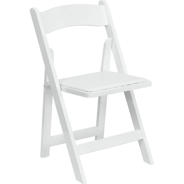 Flash Furniture HERCULES Series White Wood Folding Chair with Vinyl Padded Seat