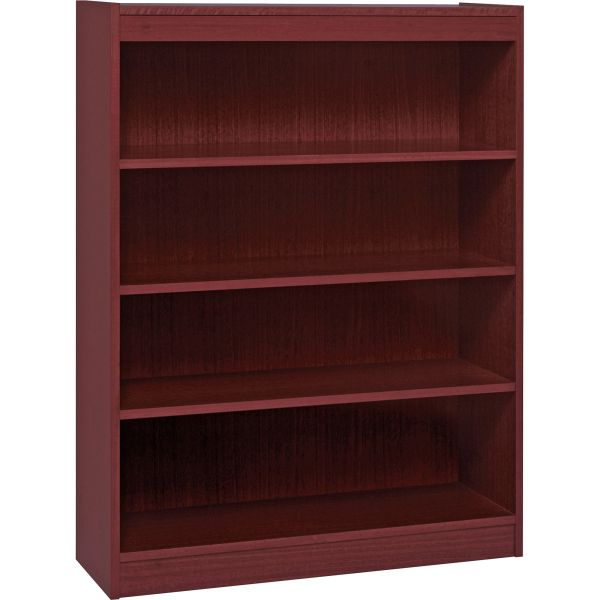 Lorell Panel End 4-Shelf Hardwood Veneer Bookcase