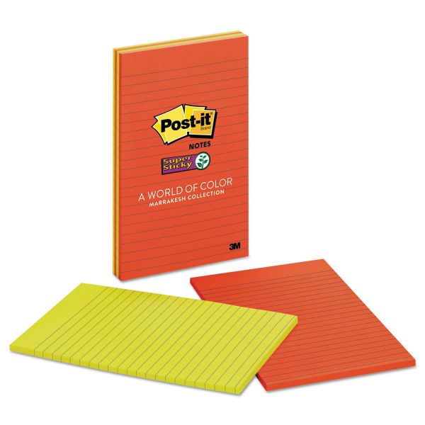 Post-it Notes Super Sticky Pads in Marrakesh Colors, Lined, 5 x 8, 45-Sheet, 4/Pack