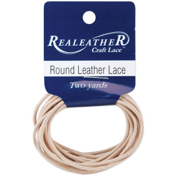 Round Leather Lace 2mmX2yd Packaged