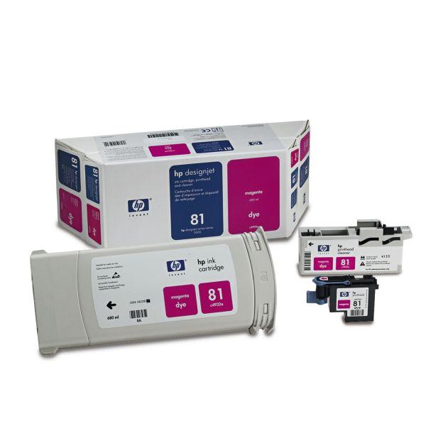HP 81, (C4992A) Ink Cartridge/Printhead/Printhead Cleaner, 680 mL, Magenta