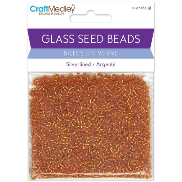 Glass Seed Beads 12/0 Silver Lined 60g