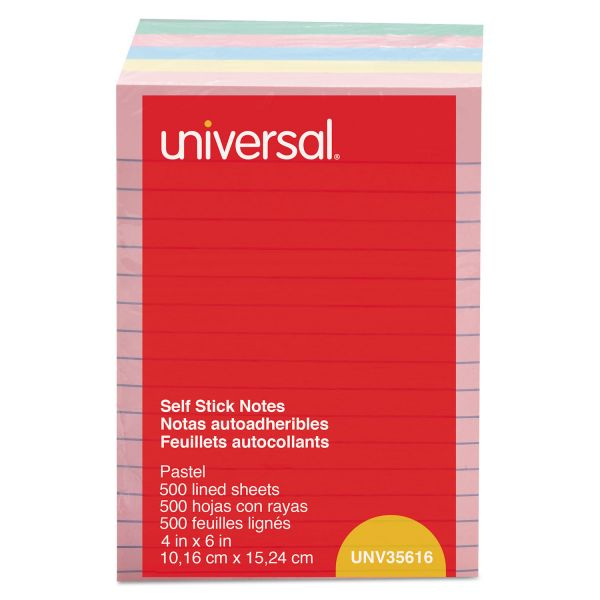 Universal Self-Stick Note Pads, 4 x 6, Lined, Assorted Pastel Colors, 100-Sheet, 5/PK