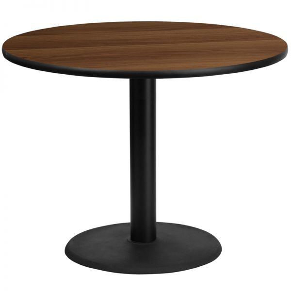 Flash Furniture 42'' Round Walnut Laminate Table Top with 24'' Round Table Height Base