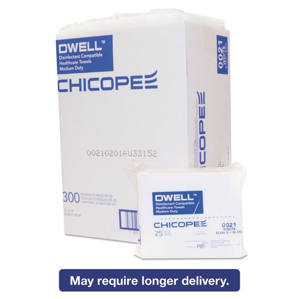 Dwell Healthcare Towels, White, Polyester, 12 x 13, 300/Carton