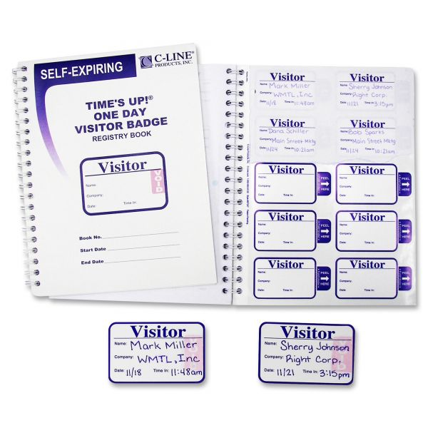 C-line Times Up! Self-Adhesive Visitor Name Badges with Registry Log