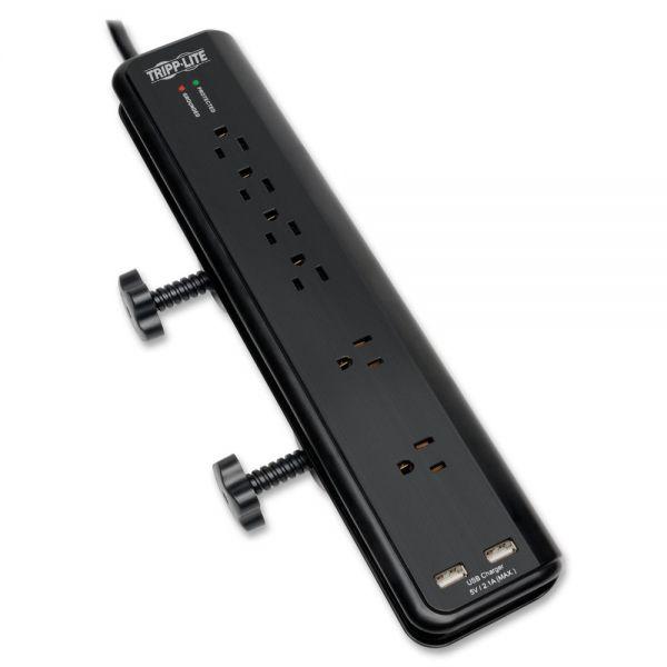 Tripp Lite Surge Protector Power Strip Desk Mount 120V USB 6 Outlet 6' Cord