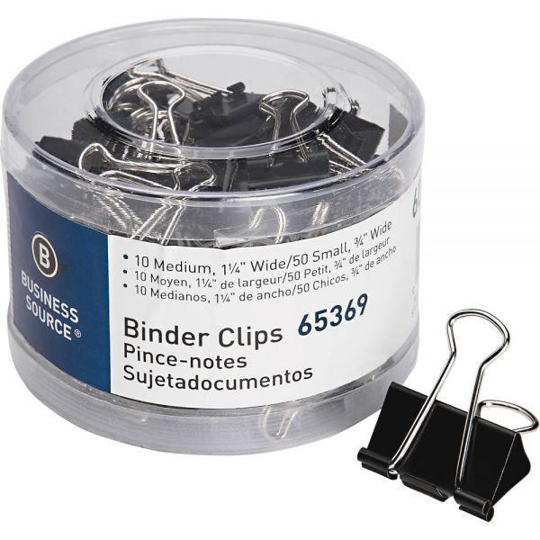 Business Source Small/Medium Binder Clips Set